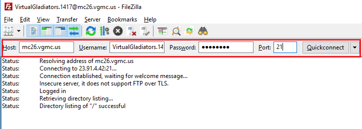 FileZilla QuickConnect
